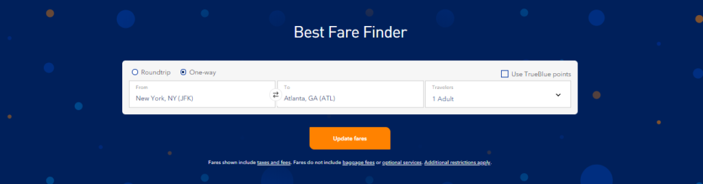 jetblue fare calendar