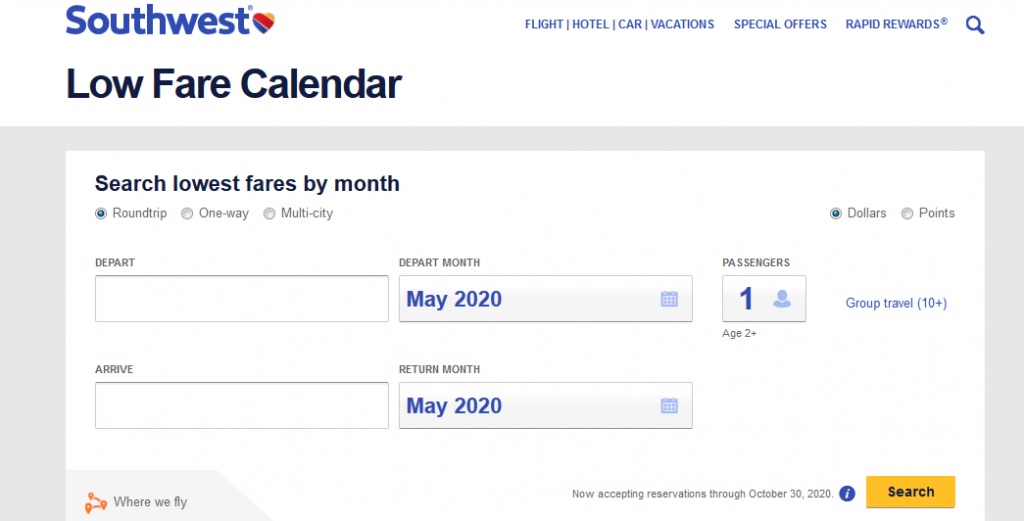 southwest-low-fare-calendar