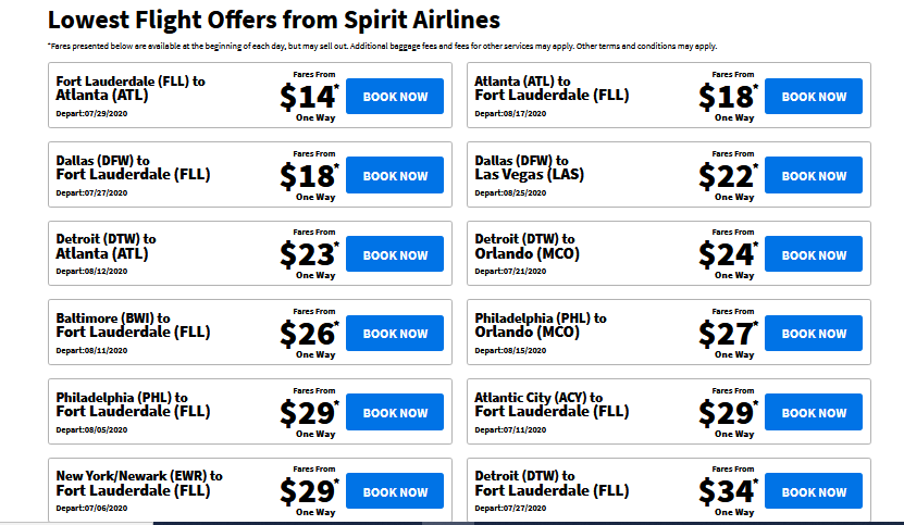 spirit airlines offers